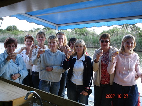 All the girls on the boat ready to rock!