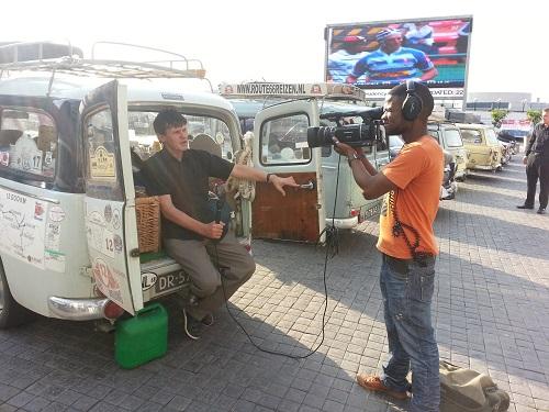Stuart covering the tour for TV