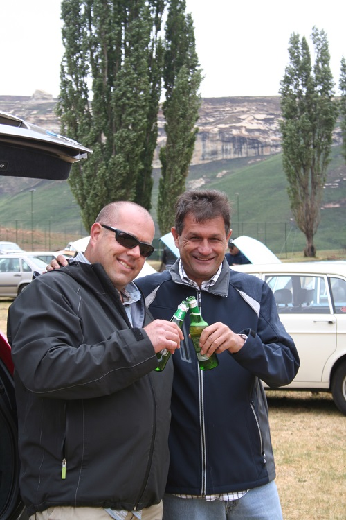 Ockie and Gerhard enjoying a well earned beer