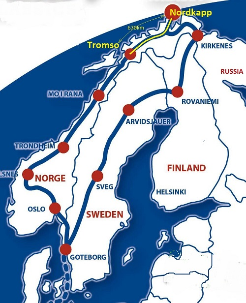 Nordkapp 2014 – Holland, Germany, Sweden, Finland, Norway, Sweden, Germany, Holland 7945km in 20 days